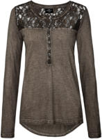 Damen Langarmshirt mit Oil-Washed-Effekt