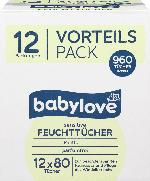 babylove Feuchttücher sensitiv, 12 x 80 St