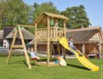 Spielturm Jungle Shelter & 1-Schaukel, inkl. gelber langer Rutsche