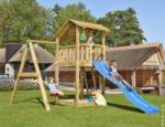 Spielturm Jungle Shelter & 1-Schaukel, inkl. blauer langer Rutsche
