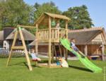Spielturm Jungle Shelter & 1-Schaukel, inkl. hellgrüner langer Rutsche