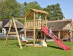 Spielturm Jungle Shelter & 1-Schaukel, inkl. roter langer Rutsche
