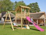 Spielturm Jungle Shelter & 1-Schaukel, inkl. fuchsiafarbener langer Rutsche