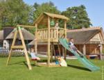 Spielturm Jungle Shelter & 1-Schaukel, inkl. dunkelgrüner langer Rutsche