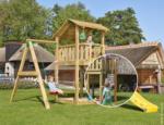 Spielturm Jungle Shelter & 1-Schaukel, inkl. Feuerwehr-Rutschstange