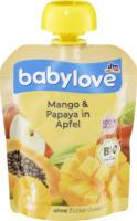 babylove Quetschbeutel Mango & Papaya in Apfel ab 1 Jahr