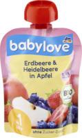 babylove Quetschbeutel Erdbeere & Heidelbeere in Apfel ab 1 Jahr