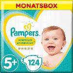 Pampers Windeln Premium Protection Größe 5+ Junior Plus, 12-17kg, MonatsBox