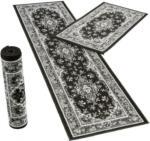 Bettumrandung 3-teilig, orientgemustert, 2x ca. 60 x 110 cm und 1x ca. 60 x 230 cm schwarz