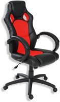 ROLLER Bürostuhl, Schreibtischstuhl - schwarz-rot - Kunstleder