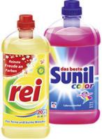 Sunil Waschmittel 15 Waschladungen oder Rei Waschmittel 18/20 Waschladungen, versch. Sorten jede Packung/Flasche