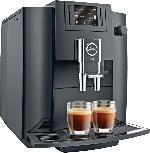 Kaffeevollautomat mit externem Michbehälter - JURA 15082 E60  Kaffeevollautomat Piano Black (AromaG3-Mahlwerk, 1.9 l Wassertank)