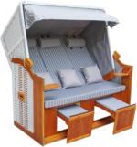 ROLLER 3-Sitzer, Sofa Strandkorb Binz - hellblau-weiß - massiv - 160x165 cm