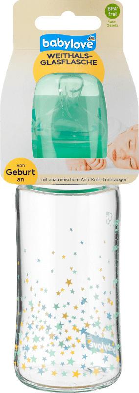 babylove Weithals Glasflasche 240ml, grün / Sternchen