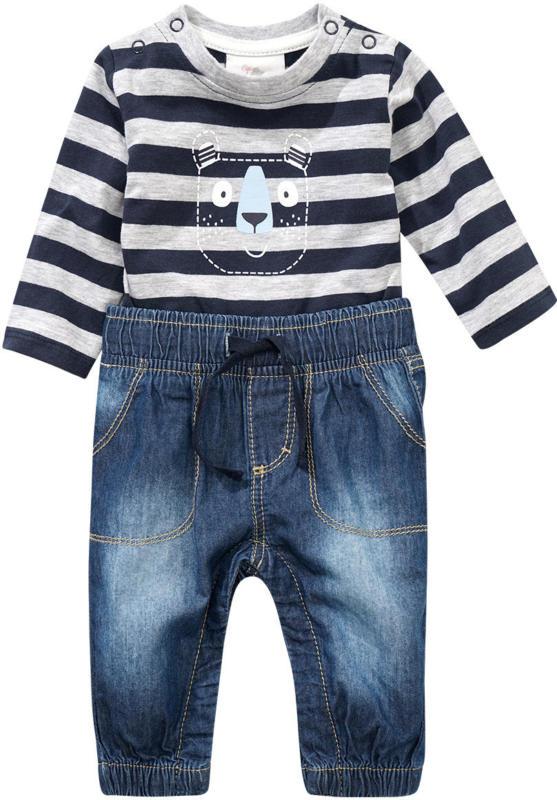Newborn Overall aus Langarmshirt und Jeans