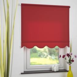 Bella Casa Seitenzugrollo Kettenzugrollo Volantrollo Rollo Klassik lichtdurchlässig 132 x 180 cm rot