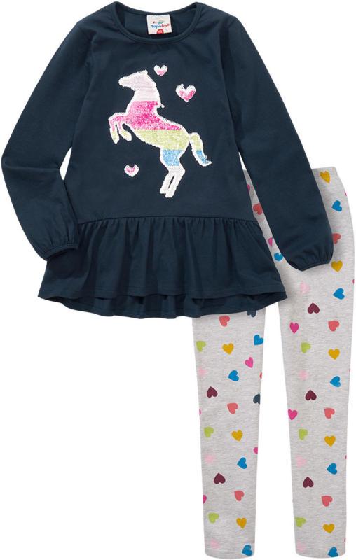 Mädchen Langarmshirt und Leggings mit Print