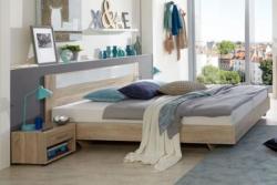 Doppelbett Nako 04, Farbe: Eiche / Weiß - Liegefläche: 160 x 200 cm (B x L)