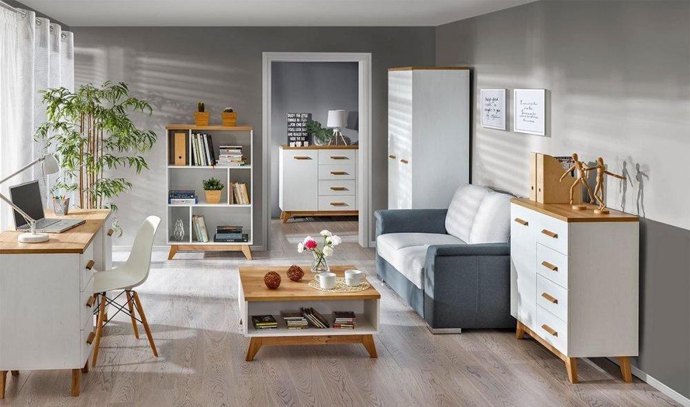 Wohnzimmer Komplett Set A Panduros 6 Teilig Farbe Kiefer Weiss