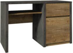 Schreibtisch Selun 11, Farbe: Eiche Dunkelbraun / Grau - 75 x 120 x 53 cm (H x B x T)