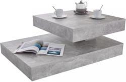 Couchtisch Holz mit Drehbarer Platte Step, Betonoptik Hell Hellgrau