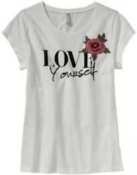 Damen-T-Shirt mit aufgesetzter Blume