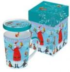 ORANGEandGREEN Tasse mit Deckel - Santa und die Tiere