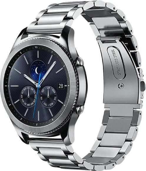 Smartwatches - SAMSUNG  Gear S3 Steel Edition Classic Smartwatch, Metall, Echtleder, 22 mm, Korpus: Silber