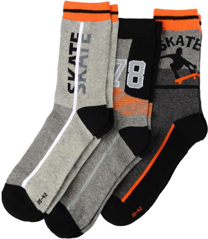 3 Paar Jungen Socken mit Skater-Motiv