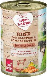 Dein Bestes Nassfutter für Hunde, Hofladen, Rind mit Karotten und Süßkartoffeln für aktive Hunde