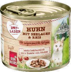 Dein Bestes Hofladen, Nassfutter für Katzen, Huhn mit Seelachs und Reis für magensensible Katzen