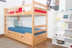 Etagenbett für Erwachsene Easy Premium Line K12/n inkl. 2 Schubladen und 2 Abdeckblenden, Kopf- und Fußteil gerade, Buche Vollholz massiv Natur - Maße: 90 x 200 cm, teilbar