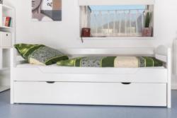 Einzelbett / Stauraumbett Easy Premium Line K1/h/s inkl. 2. Liegeplatz und 2 Abdeckblenden, 90 x 200 cm Buche Vollholz massiv weiß lackiert