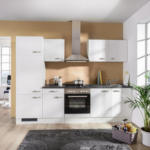 Möbelix Einbauküche Küchenblock Möbelix Alba 270 cm Weiß Weiß, Schieferfarben