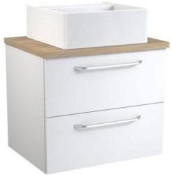 Waschtischunterschrank Barasat 66, Farbe: Weiß glänzend / Eiche - 53 x 60 x 46 cm (H x B x T)