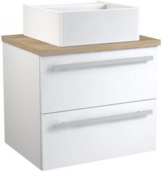Waschtischunterschrank Bidar 66, Farbe: Weiß glänzend / Eiche - 53 x 60 x 46 cm (H x B x T)