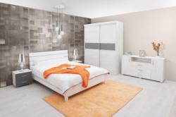 Schlafzimmer Komplett - Set M Bermeo, 5-teilig, teilmassiv, Farbe: Eiche Weiß / Anthrazit / Weiß