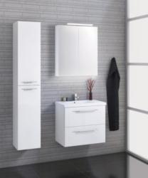 Badezimmermöbel - Set L Pune, 3-teilig inkl. Waschtisch / Waschbecken, Farbe: Weiß glänzend