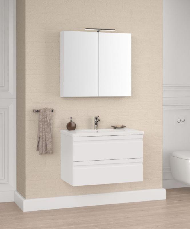 Badezimmermöbel - Set H Bikaner, 2-teilig inkl. Waschtisch / Waschbecken, Farbe: Weiß glänzend