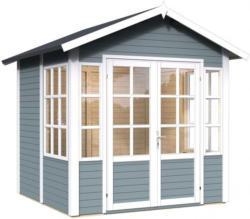 Gartenhaus Leisnig 01 inkl. Fußboden und Dachpappe, Hellgrau lackiert - 19 mm Elementgartenhaus, Nutzfläche: 5,10 m², Satteldach