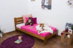 Kinderbett / Jugendbett Kiefer Vollholz massiv Eichefarben A27, inkl. Lattenrost - Abmessung 90 x 200 cm