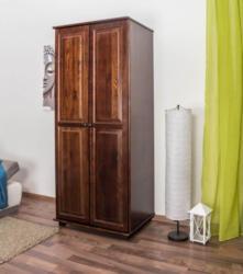 Kleiderschrank Kiefer Vollholz massiv Nussfarben 007 - Abmessung 190 x 80 x 60 cm (H x B x T)