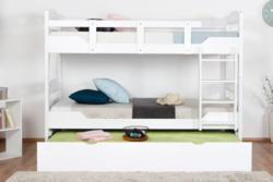 Etagenbett für Erwachsene Easy Premium Line K11/h inkl. Liegeplatz und 2 Abdeckblenden, Kopf- und Fußteil mit Löchern, Buche Vollholz massiv Weiß - 90 x 200 cm (B x L), teilbar