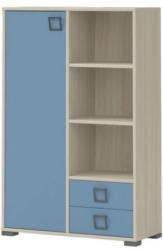 Kinderzimmer - Kommode Benjamin 26, Farbe: Esche / Blau - Abmessungen: 134 x 86 x 37 cm (H x B x T)