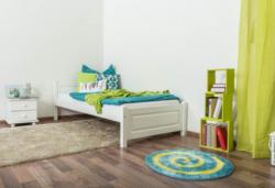 Einzelbett/ Gästebett Kiefer massiv Vollholz weiß lackiert 78, inkl. Lattenrost - Liegefläche 90 x 200 cm