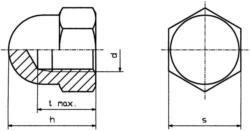 TOOLCRAFT M4 D1587-STAHL:A2K 194787 Sechskant-Hutmuttern M4 DIN 1587