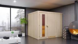 Sauna Sara 01, 68 mm Wandstärke - 231 x 196 x 198 cm (B x T x H) - Ausführung:inkl. Bio-Ofen mit externer Steuerung