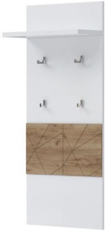 Garderobe Manase 12, Farbe: Eiche Braun / Weiß Hochglanz - 126 x 59 x 22 cm (H x B x T)