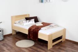 Einzelbett / Gästebett Buche massiv Vollholz natur 111, inkl. Lattenrost - Abmessung 90 x 200 cm (B x L)