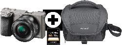 Systemkameras - SONY Alpha 6000 KIT (ILCE-6000L) + Tasche + Speicherkarte Systemkamera 24.3 Megapixel mit Objektiv 16-50 mm , 7.5 cm Display  , WLAN